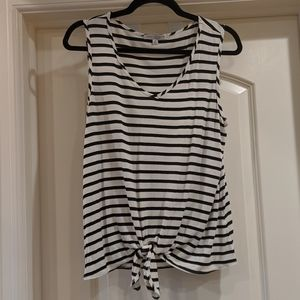 Black and White Stripe Tie Tank Top